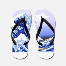 Surfs Up The Great Wave Flip Flops