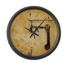 white daisy barn door Large Wall Clock