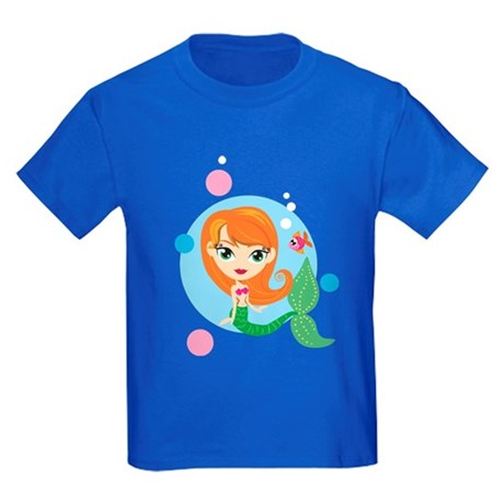 Redheaded Mermaid Kids Dark T-Shirt