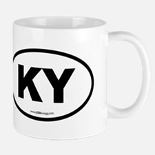 Kentucky KY Euro Oval BLACK Small Small Mug