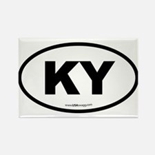 Kentucky KY Euro Oval BLACK Rectangle Magnet