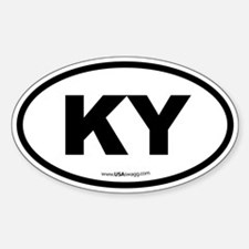 Kentucky KY Euro Oval BLACK Decal