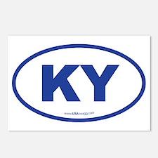 Kentucky KY Euro Oval BLU Postcards (Package of 8)