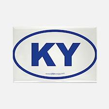 Kentucky KY Euro Oval BLUE Rectangle Magnet