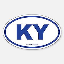 Kentucky KY Euro Oval BLUE Decal