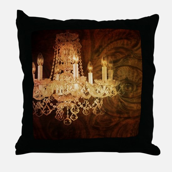 western country vintage chandelier Throw Pillow