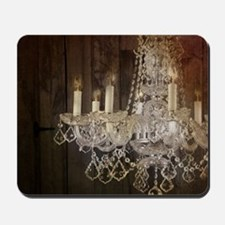 barn wood crystal chandelier Mousepad