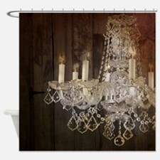 barn wood crystal chandelier Shower Curtain