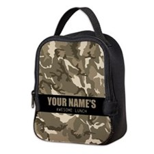 PERSONALIZED Tan Camo Neoprene Lunch Bag