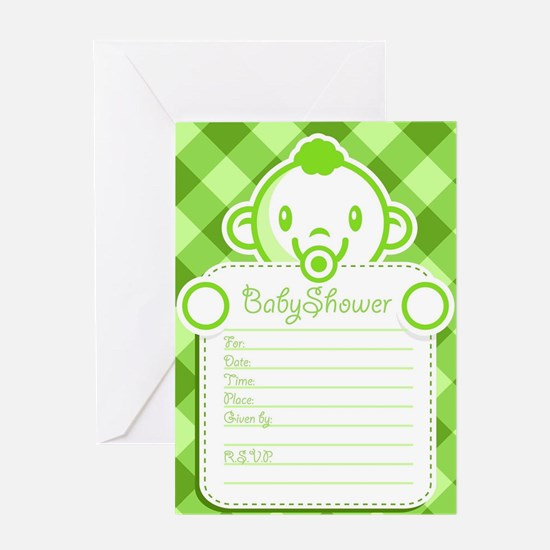 green baby shower invitation Greeting Cards