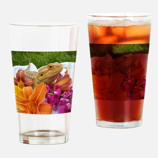 Floral beardie Drinking Glass