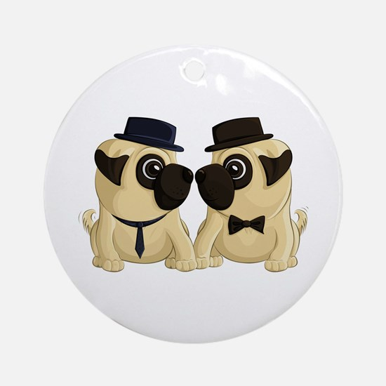 Groom Pugs Ornament (Round)