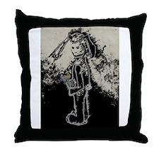 sad bunny rabbit by asyrum design Throw Pillow
