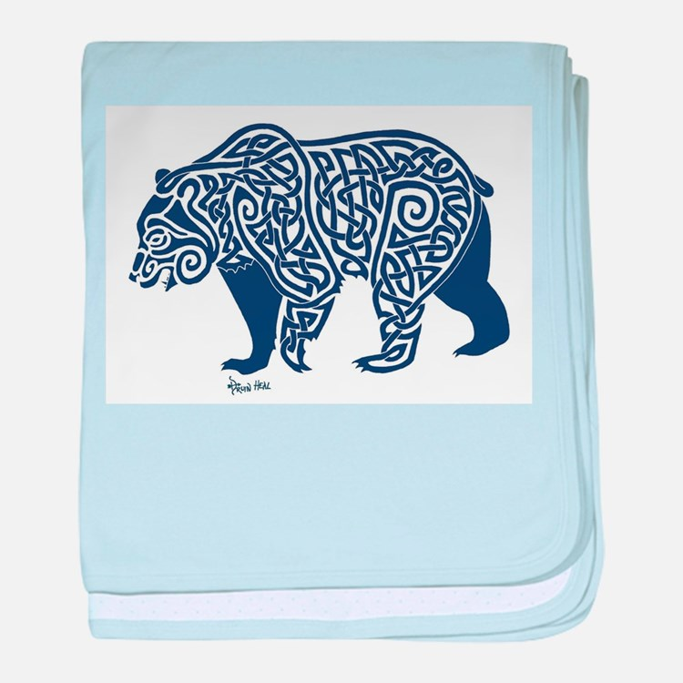 Bear Knotwork Blue baby blanket