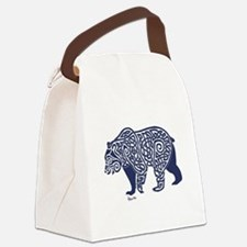 Bear Knotwork Blue Canvas Lunch Bag