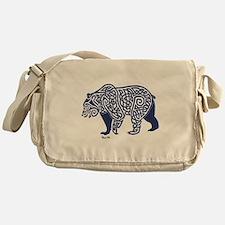 Bear Knotwork Blue Messenger Bag