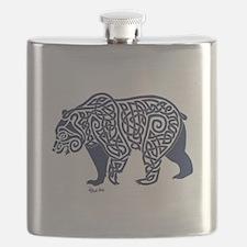Bear Knotwork Blue Flask
