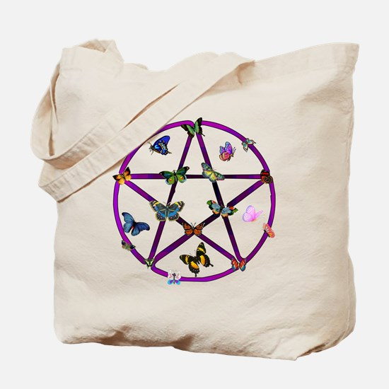 Wiccan Star and Butterflies Tote Bag