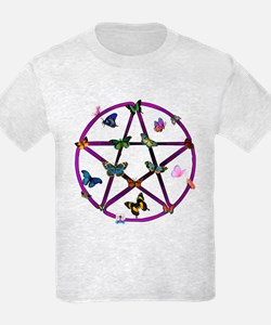 Wiccan Star and Butterflies T-Shirt