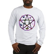 Wiccan Star and Butterflies Long Sleeve T-Shirt