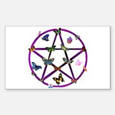 Wiccan Star and Butterflies Rectangle Decal