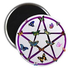 Wiccan Star and Butterflies Magnet