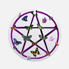 Wiccan Star and Butterflies Ornament (Round)