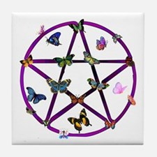 Wiccan Star and Butterflies Tile Coaster
