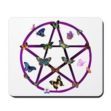 Wiccan Star and Butterflies Mousepad