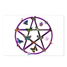 Wiccan Star and Butterflies Postcards (Package of
