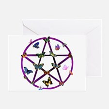 Wiccan Star and Butterflies Greeting Card