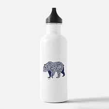 Bear Knotwork Blue Water Bottle