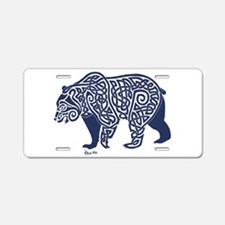 Bear Knotwork Blue Aluminum License Plate