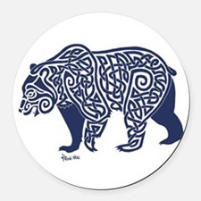 Bear Knotwork Blue Round Car Magnet