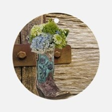 flower western country cowboy boots Round Ornament