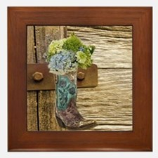 flower western country cowboy boots Framed Tile