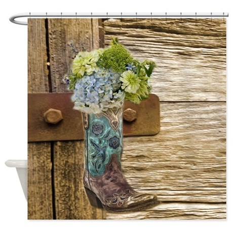 Flower Western Country Cowboy Boots Shower Curtain By