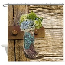 flower western country cowboy boots Shower Curtain