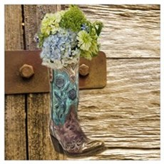 flower western country cowboy boots Poster