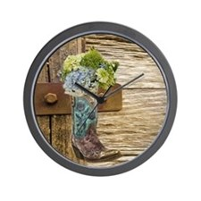 flower western country cowboy boots Wall Clock