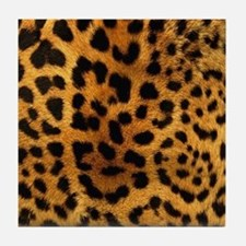 girly trendy leopard print Tile Coaster