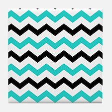 Black and Aqua Chevron Pattern Tile Coaster