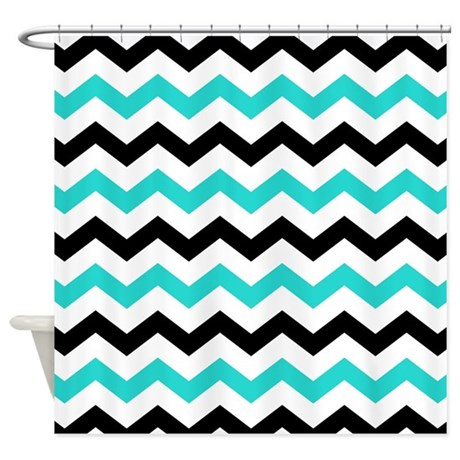 Black And Aqua Chevron Pattern Shower Curtain By Printcreekstudio