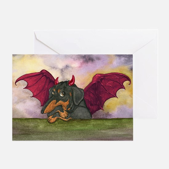 Batwing Weiner Dog Greeting Card