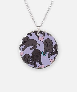 Black Labs Pattern Necklace Circle Charm