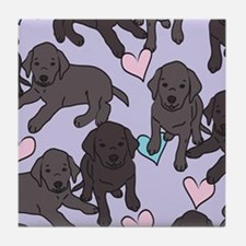 Black Labs Pattern Tile Coaster