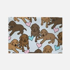 Chocolate Labs Pattern Rectangle Magnet