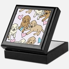 Yellow Labs Pattern Keepsake Box