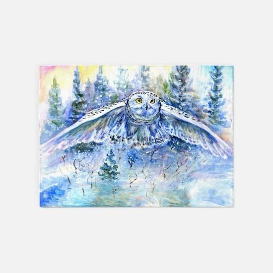 Snowy Owl1 5'x7'Area Rug