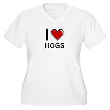 I love Hogs Plus Size T-Shirt